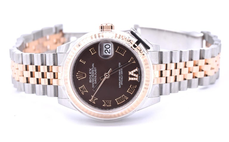 Rolex Datejust Mid-Size Two-Tone Factory Chocolate Roman Dial with 11 Diamonds In Excellent Condition For Sale In Scottsdale, AZ