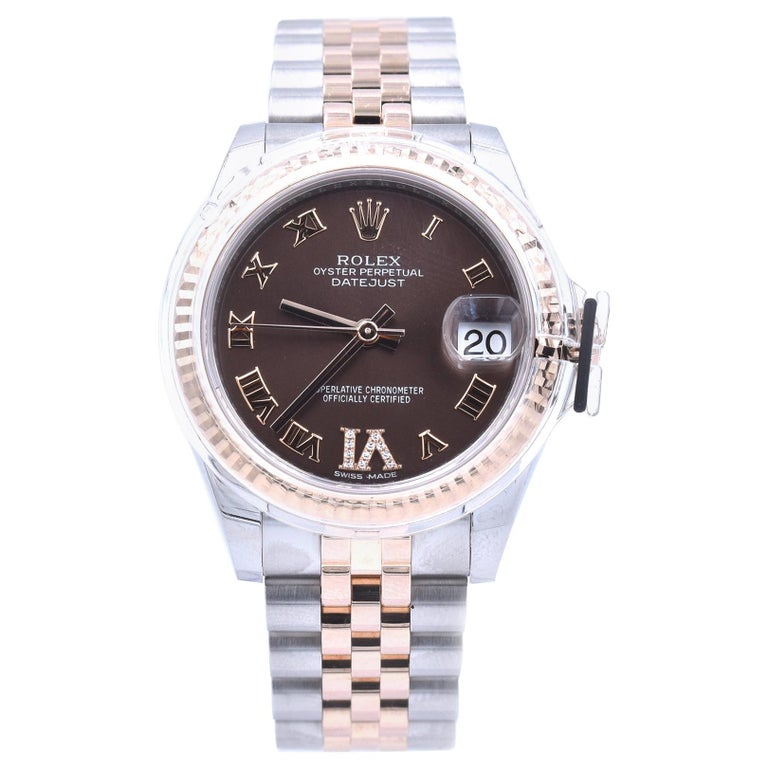 Rolex Datejust Mid-Size Two-Tone Factory Chocolate Roman Dial with 11 Diamonds For Sale