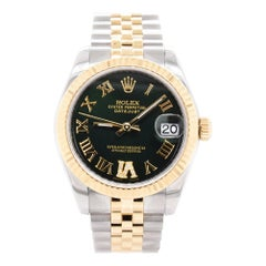 Rolex Datejust Mid-Size Two-Tone Factory Green Roman Dial Watch 178273