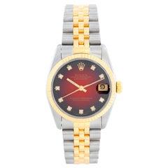 Rolex Datejust Midsize 2-Tone Watch Red Vignette Dial 68273