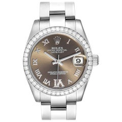 Rolex Datejust Midsize 31 Steel Diamond Ladies Watch 178384 Box Card