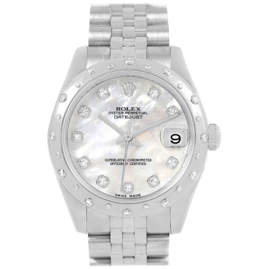 Rolex Datejust Midsize 31 Steel Mother of Pearl Diamond Ladies Watch 178344