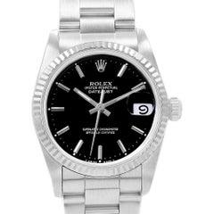 Rolex Datejust Midsize 31 Steel White Gold Black Dial Ladies Watch 68274