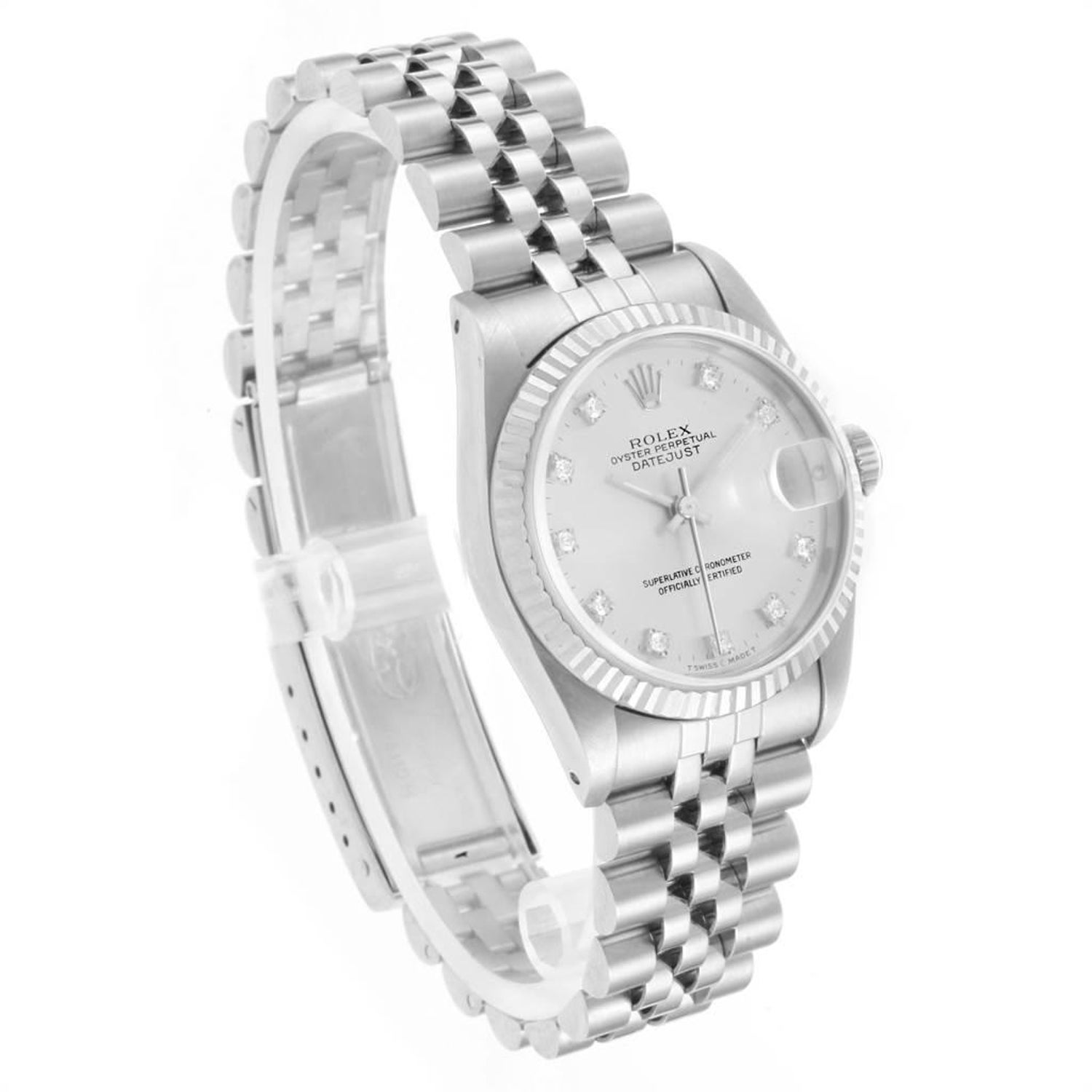936f05f40ea Rolex Datejust Midsize 31 Steel White Gold Diamond Ladies Watch 68274 For  Sale at 1stdibs