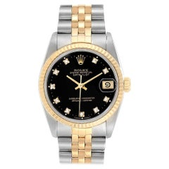 Rolex Datejust Midsize 31 Steel Yellow Gold Diamond Watch 68273 Box Paper
