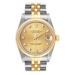 Rolex Datejust Midsize 31 Steel Yellow Gold Diamond Watch 68273 Box Papers