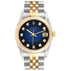 Rolex Datejust Midsize 31 Steel Yellow Gold Vignette Diamond Watch 68273