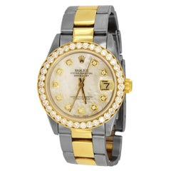 Rolex Datejust Midsize Aftermarket Mother of Pearl Dial Diamond Bezel 6827