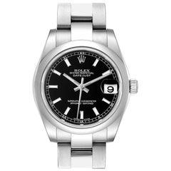 Rolex Datejust Midsize Black Dial Steel Ladies Watch 178240 Box Papers