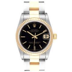 Rolex Datejust Midsize Black Dial Steel Yellow Gold Ladies Watch 78273