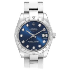 Rolex Datejust Midsize Blue Diamond Dial Ladies Watch 178344 Box Card