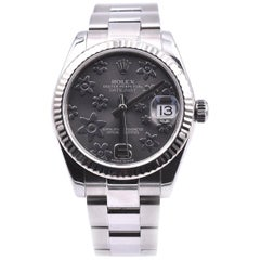 Rolex Datejust Midsize Fluted Bezel Silver Floral Dial Stainless Steel Watch 178