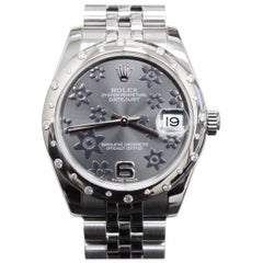 Rolex Datejust Midsize Stainless 178344 Floral Dial Original Diamond Bezel