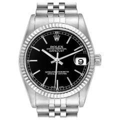 Rolex Datejust Midsize Steel White Gold Black Dial Ladies Watch 78274
