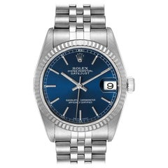 Rolex Datejust Midsize Steel White Gold Blue Dial Ladies Watch 78274