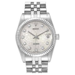 Rolex Datejust Midsize Steel White Gold Diamond Dial Ladies Watch 68274