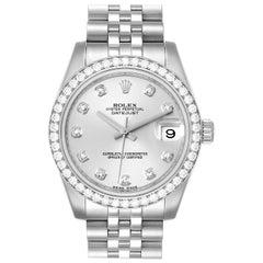 Rolex Datejust Midsize Steel White Gold Diamond Ladies Watch 178384