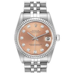 Rolex Datejust Midsize Steel White Gold Diamond Watch 78274 Box Papers