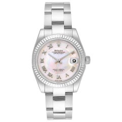 Rolex Datejust Midsize Steel White Gold MOP Dial Ladies Watch 178274 Box Card