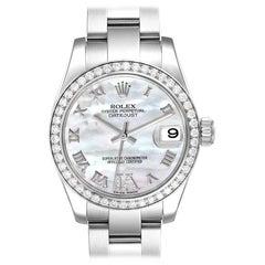 Rolex Datejust Midsize Steel White Gold MOP Diamond Watch 178384 Box Card