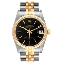Rolex Datejust Midsize Steel Yellow Gold Black Dial Ladies Watch 68273 Box
