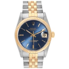 Rolex Datejust Midsize Steel Yellow Gold Blue Dial Ladies Watch 68273