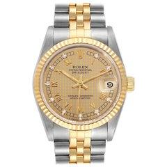 Rolex Datejust Midsize Steel Yellow Gold Diamond Ladies Watch 68273