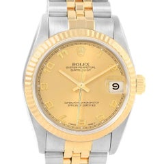 Rolex Datejust Midsize Steel Yellow Gold Fluted Bezel Ladies Watch 68273