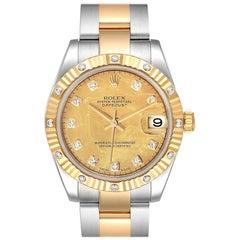 Rolex Datejust Midsize Yellow Gold Steel Goldust MOP Diamond Watch 178313