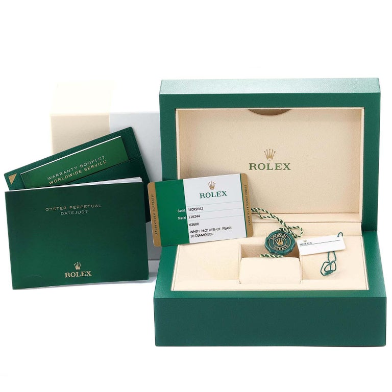 Rolex Datejust Mother of Pearl Diamond Dial Bezel Men's Watch 116244 Box Card For Sale 9