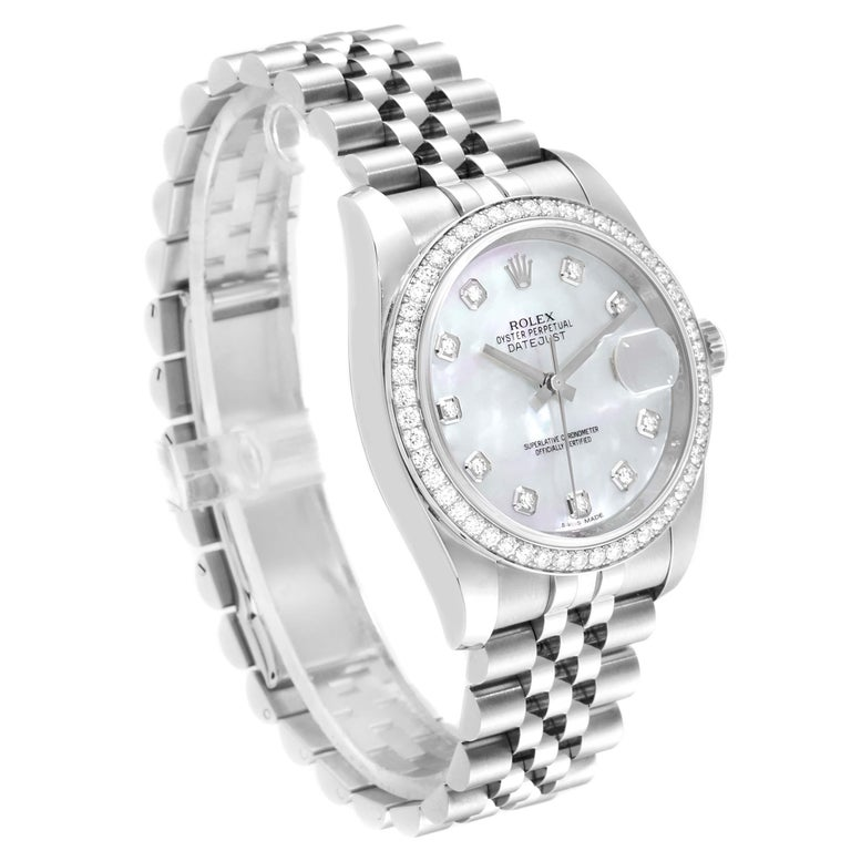 Rolex Datejust Mother of Pearl Diamond Dial Bezel Men's Watch 116244 Box Card In Excellent Condition For Sale In Atlanta, GA