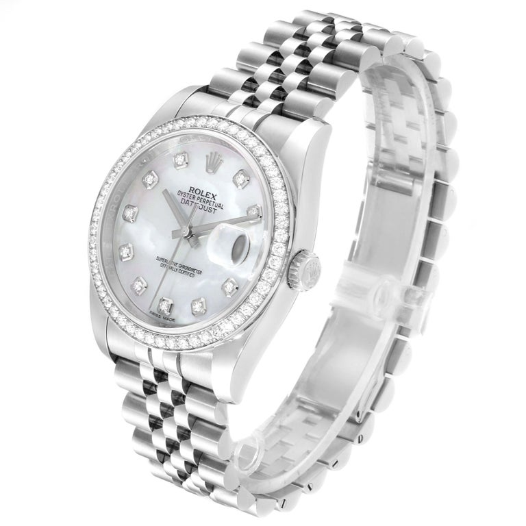 Rolex Datejust Mother of Pearl Diamond Dial Bezel Men's Watch 116244 Box Card For Sale 1