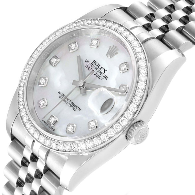 Rolex Datejust Mother of Pearl Diamond Dial Bezel Men's Watch 116244 Box Card For Sale 2