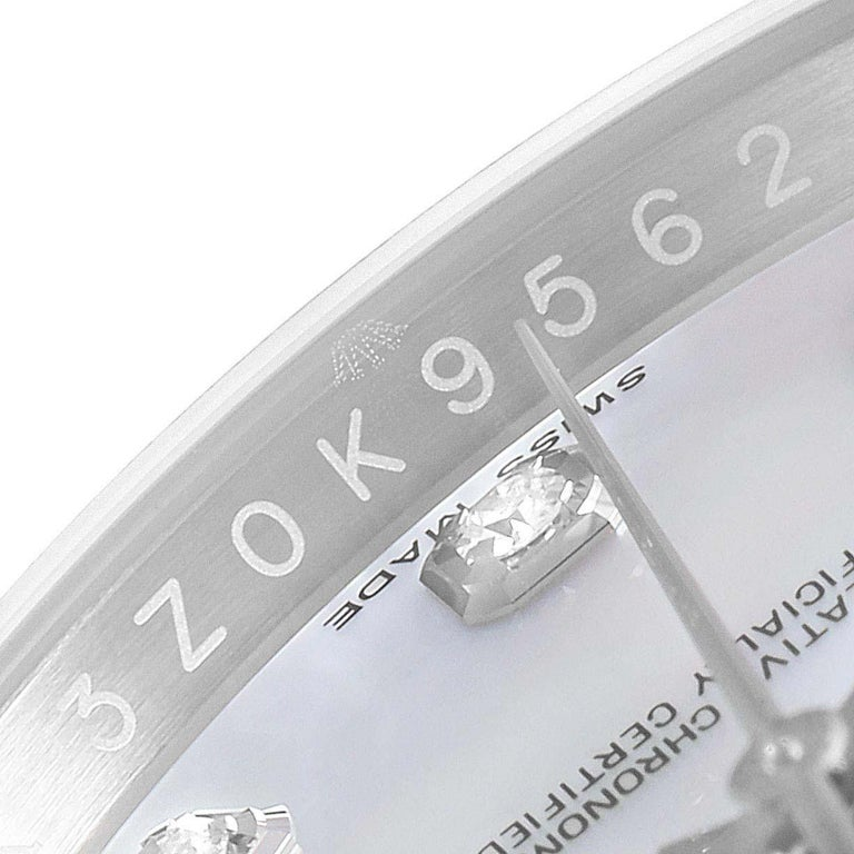 Rolex Datejust Mother of Pearl Diamond Dial Bezel Men's Watch 116244 Box Card For Sale 5