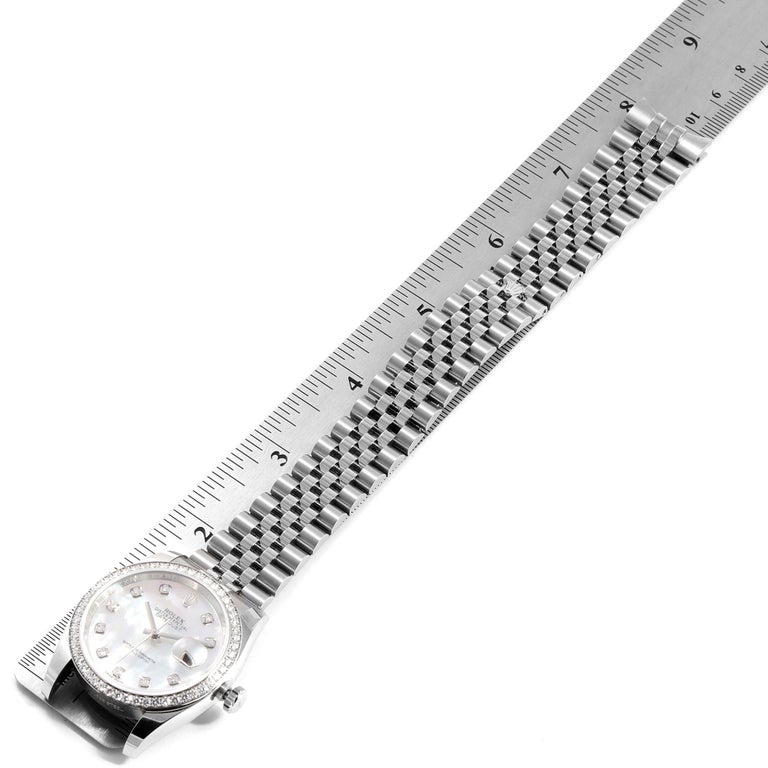 Rolex Datejust Mother of Pearl Diamond Dial Bezel Men's Watch 116244 Box Card For Sale 6