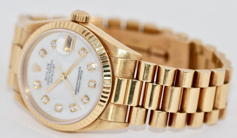 Women's Rolex Datejust Mother of Pearl and Diamonds, 68278 Midsize 18 Karat Gold Ladies For Sale
