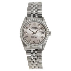 Rolex Datejust Mother of Pearl Dial Aftermarket Diamond Bezel 6824