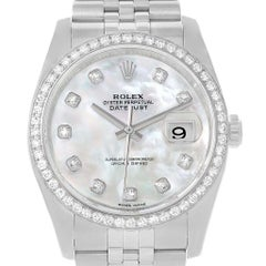 Rolex Datejust Mother of Pearl Dial Diamond Bezel Unisex Watch 116244