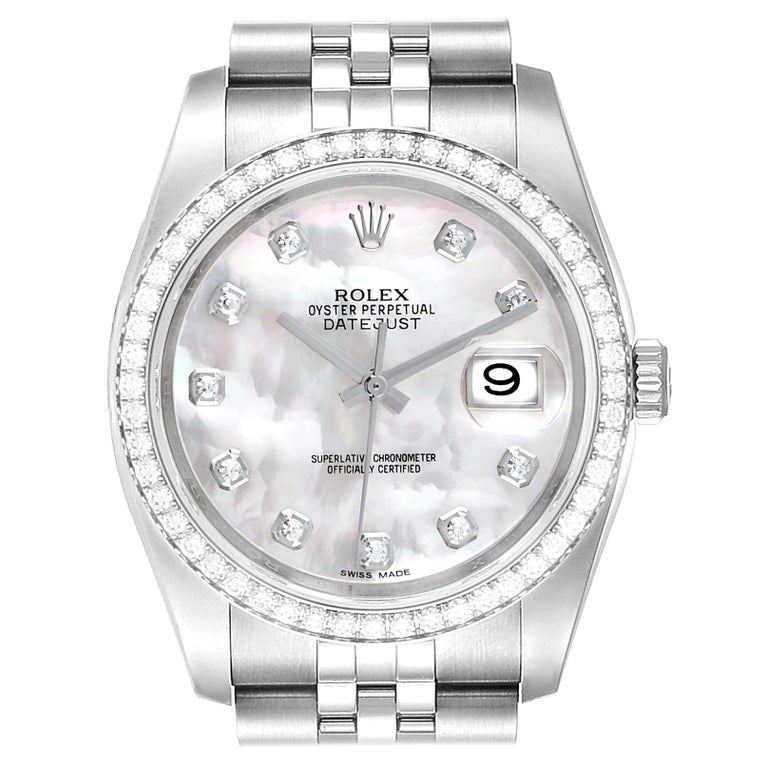 Rolex Datejust Mother of Pearl Diamond Dial Bezel Men's Watch 116244 Box Card For Sale