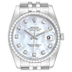 Rolex Datejust Mother of Pearl Diamond Dial Bezel Steel Men's Watch 116244