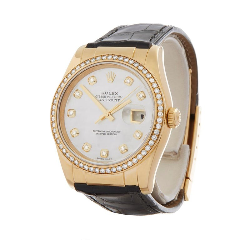 Ref: W3114 Model: 116188 Serial: D37**** Condition: 9 - Excellent condition Age: 2005 Box and Papers: Box only Movement: Automatic Case: 18k Yellow Gold Dial: Mother of Pearl with Diamond Markers Bracelet: Black Crocodile Buckle: 18K Yellow Gold