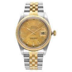 Rolex Datejust No Holes 18k Gold Steel Champagne Dial Men's Watch 16233