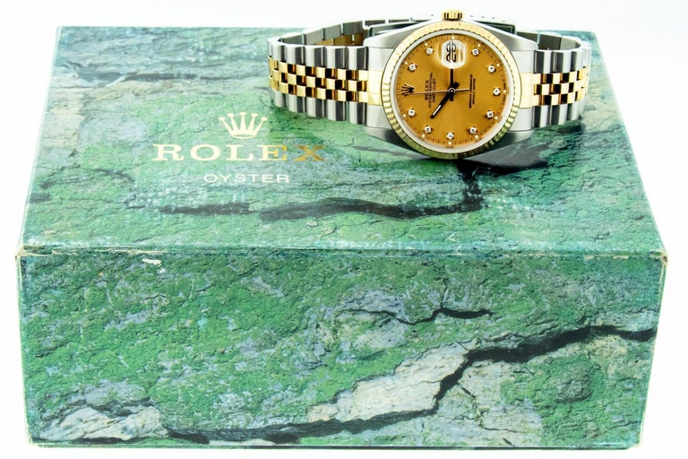 Rolex DateJust Original Champagne Diamond Box Booklets YG/SS For Sale 12