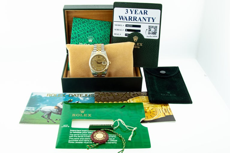 This Watch Has Recently Been Serviced, Polished and Will Be Time Tested Before Shipment. This Watch Includes 2 Rolex Booklets, Rolex Hang Tag, Rolex Carry Pouch, Rolex Wallet, Rolex Box as Well as a 3 Year Lux Time Co Warranty. Complete Full Rolex