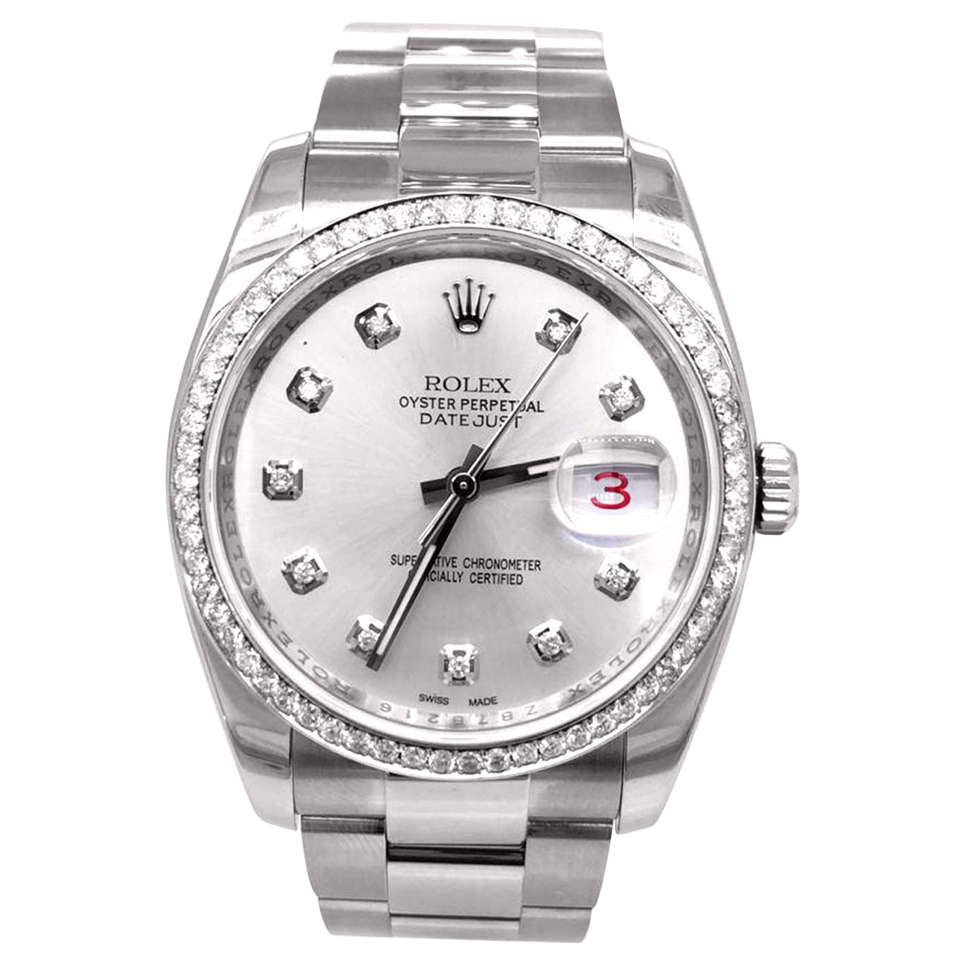 Rolex Datejust Ouster Diamond Bezel with Silver Diamond Dial and Bezel 116200