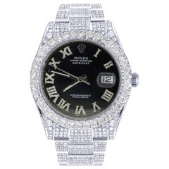 Rolex Datejust Oyster Stainless Steel Pave Roman Diamond Dial Card Watch 126300