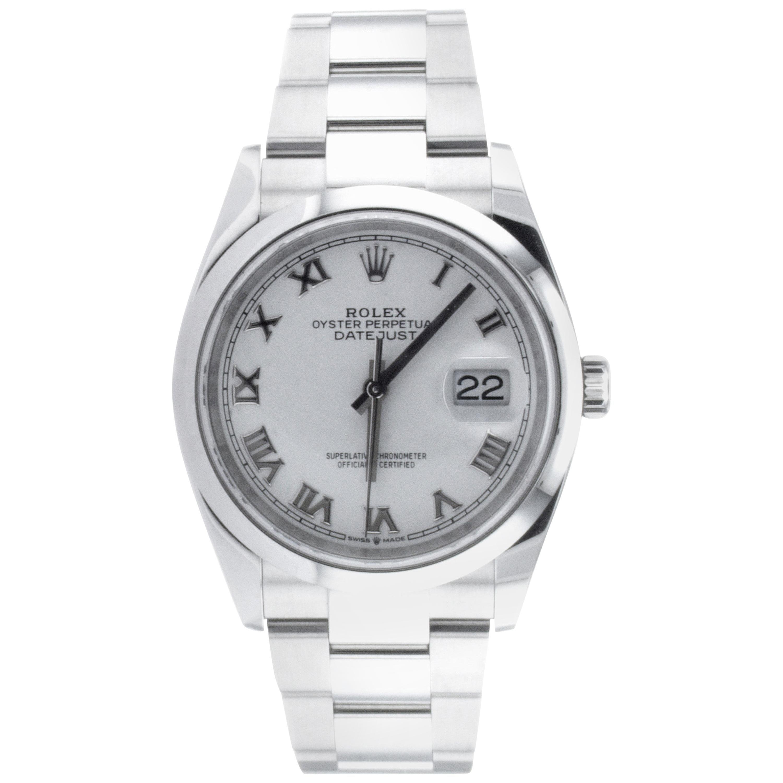 Rolex Datejust Oystersteel White Roman Dial WristWatch Ref 16200