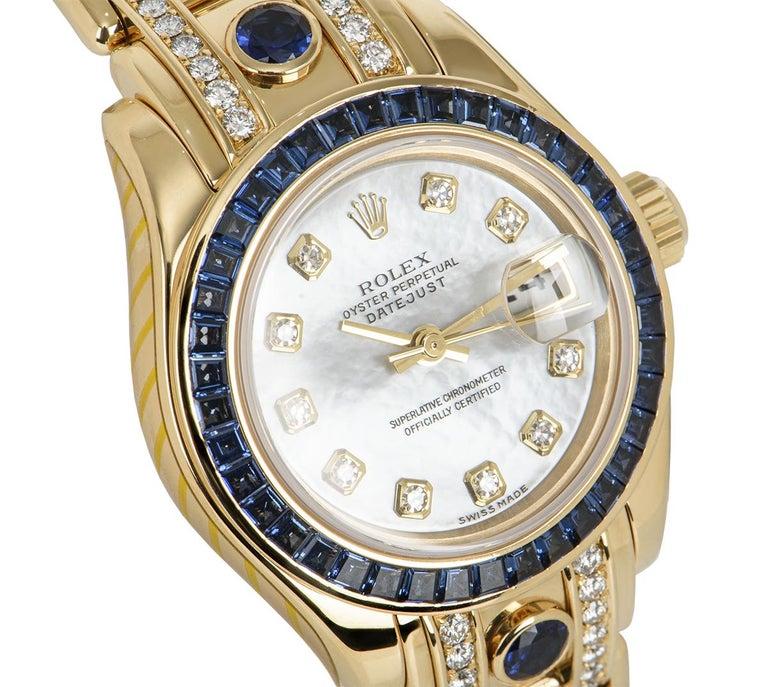 Brilliant Cut Rolex Datejust Pearlmaster Diamond & Sapphire 80308SA For Sale