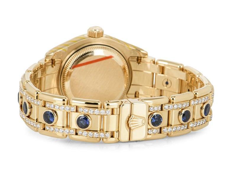 Women's Rolex Datejust Pearlmaster Diamond & Sapphire 80308SA For Sale