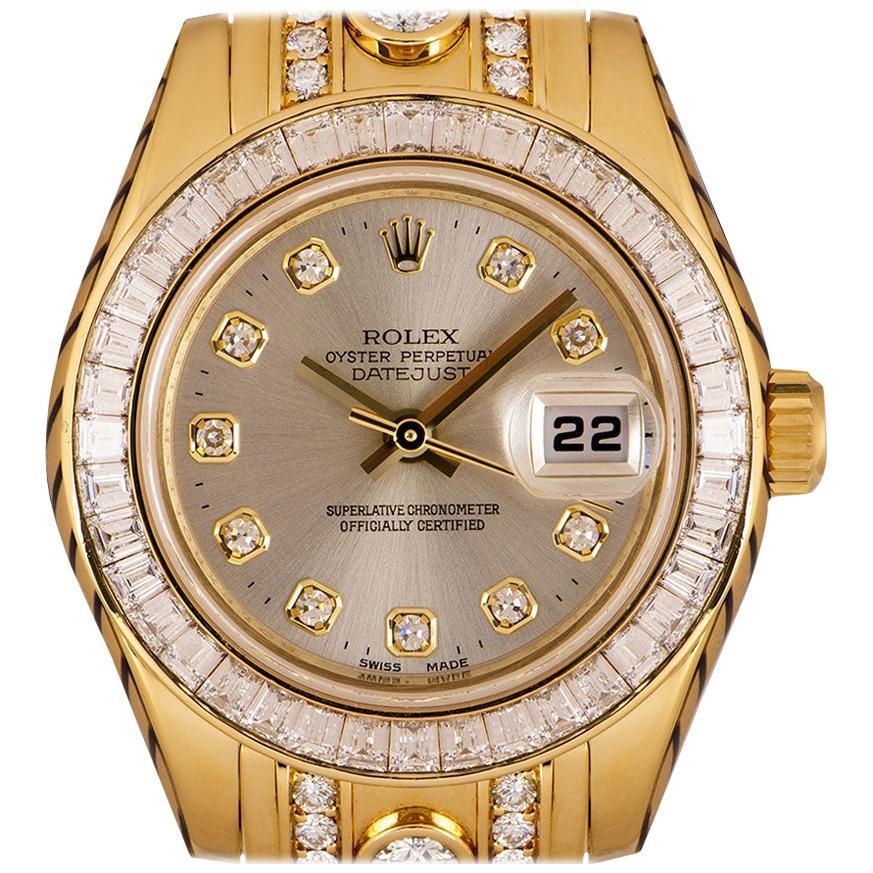 Rolex Datejust Pearlmaster Ladies 18 Karat Silver Dial Diamond Set 80308BR